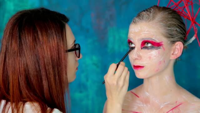 Professional make-up creating face makeup art video