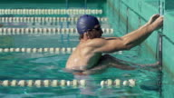 Professional Male Swimmer Pushes Off In Streamline video