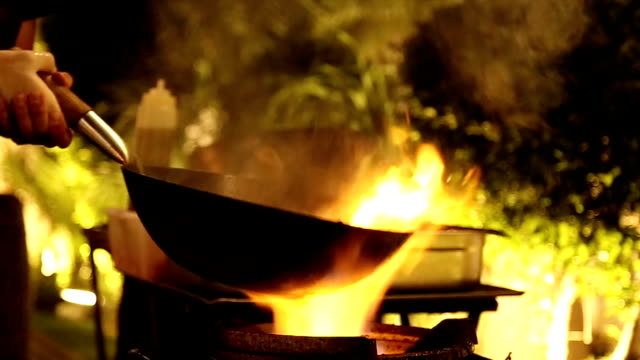 Professional stir fry in slow motion. video