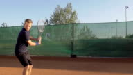 Professional Tennis Player Hitting The Ball And Expressing Achievement video