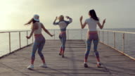 Professional twerk by talented young teenagers on a wooden pier near the sea video