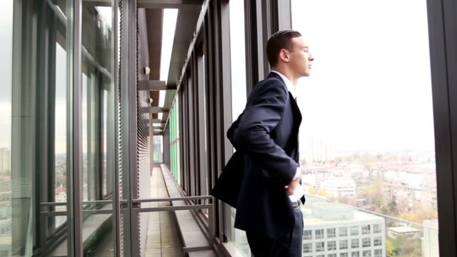 Profile of businessman standing by window with city view video