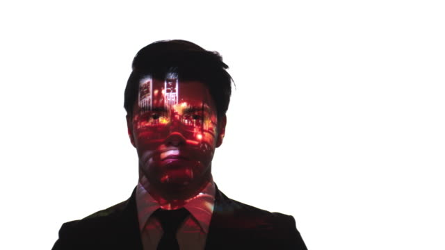 Projection of port timelapse on a businessman's face video