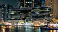 Promenade in Dubai Marina timelapse at night, UAE video
