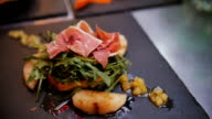 Prosciutto di Parma with potato, salad, vegetable video