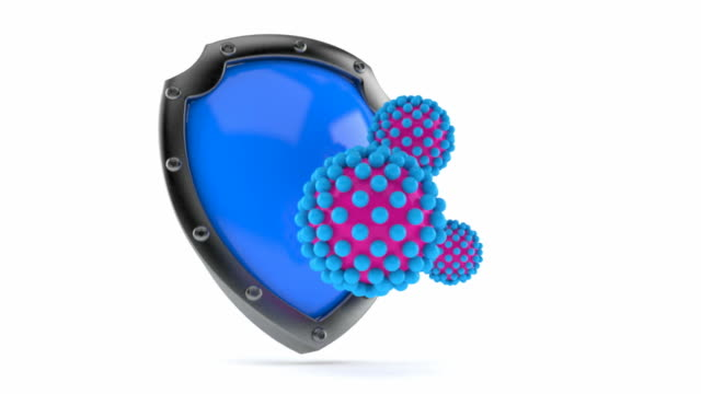 Protective shield with virus video