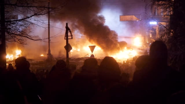 Protesters burn tyres in Kiev, January 2014 video