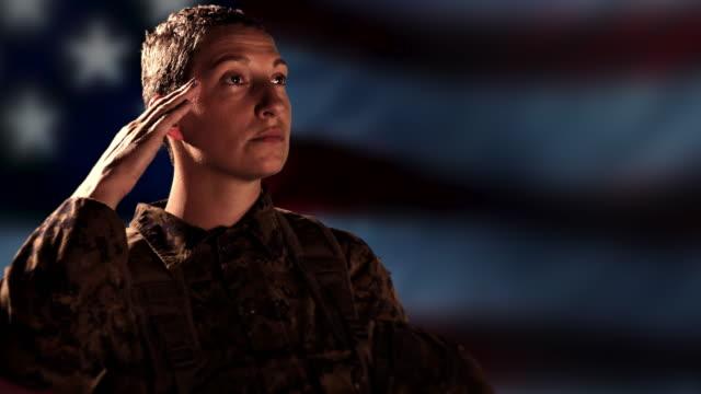 Proud Military Soldier Salute, American Flag, Combat Veteran Background video