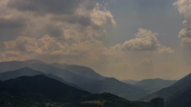 Provence hills landscape sunbeams time lapse video