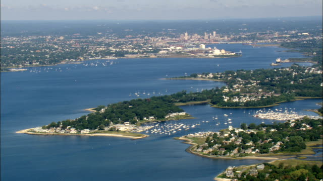 Providence Harbour  - Aerial View - Rhode Island, Providence County, United States video