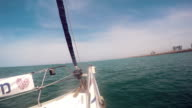 Prow of a sailboat that sail in mediterranean sea video