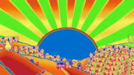 Psychedelic styled blazing sun over doodled landscape video