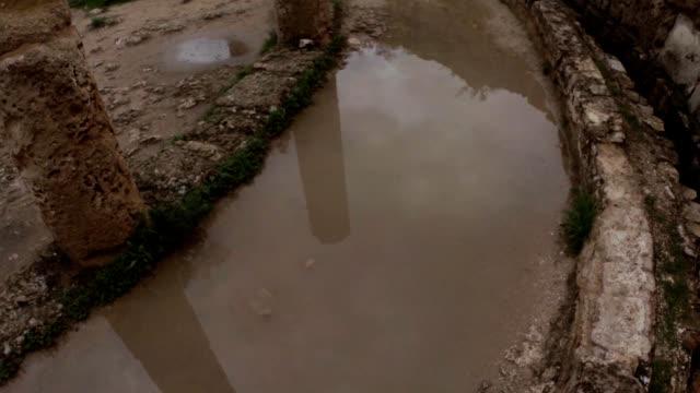 Public latrines ruins ancient town Salamis east Cyprus Famagusta video