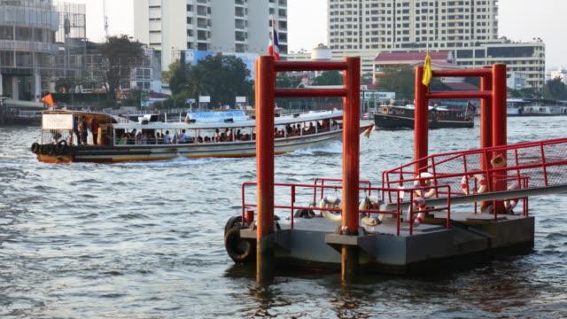 Public transport boat in Chaopraya river, Bangkok, Thailand video