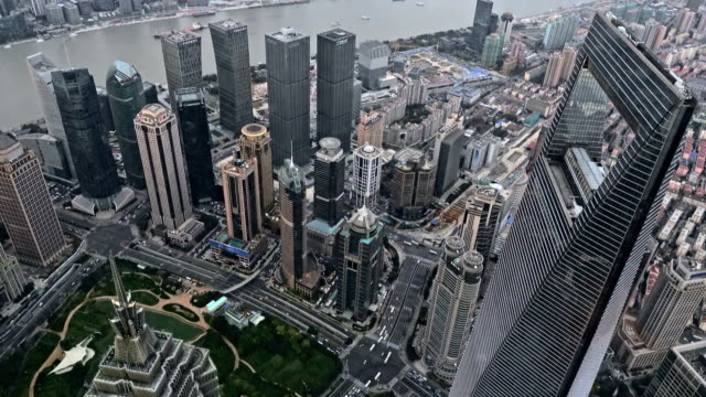 Pudong Buildings Skyscrapers Cityscape in Shanghai China video