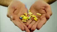 Pulls Pouring in Hands Drug Treatment Concpet video