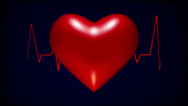 Pulsating heart with EKG in background video