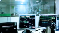Pulse trace display heart pulse in hospital ICU room,real time. video