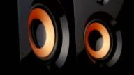 Pumping bass speaker. Closeup video