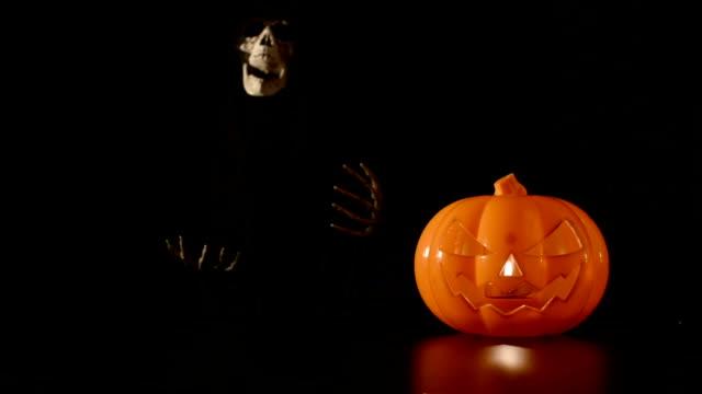 Pumpkin and skeleton video