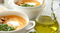 Pumpkin soup with pesto and roasted seeds video