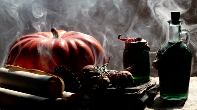 Pumpkin,Poison Bottle,Dead Insects, Magic Book, Scrolls For Halloween video