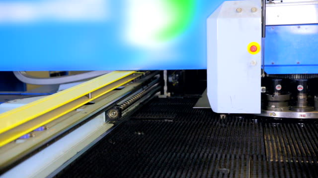 Punching machine. Robotic automated cnc machine working video