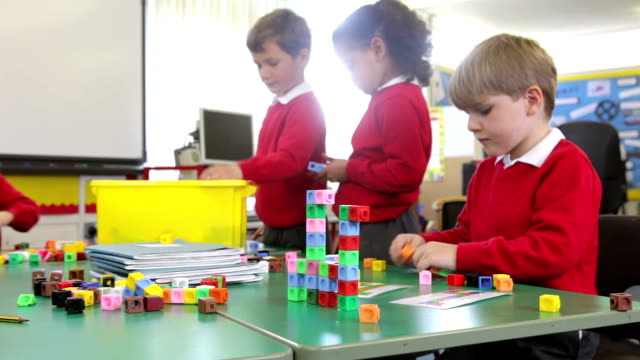 Pupils Working With Coloured Blocks video