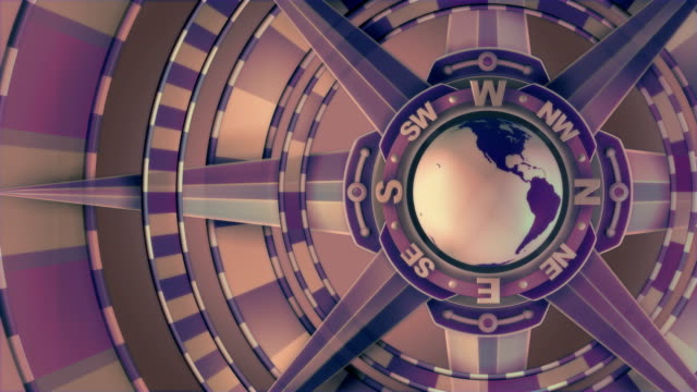 Purple, Loopable, Global Compass Rose with World and Cardinal Points video