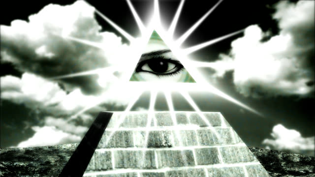 pyramid with an eye on the tip, a dollar sign video