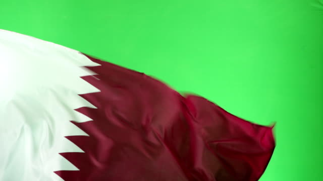 4K: Qatar Flag on green screen, Real video, not CGI video