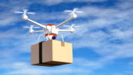 Quadrocopter with cardboard package video