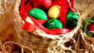 Quail Easter eggs in baskets video