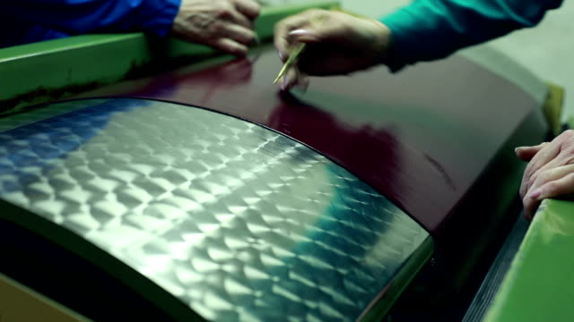 Quality control of leather material, close-up video