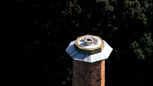 Quarry Bank Mill chimney - Aerial View - England, Cheshire East, Alderley Edge, United Kingdom video