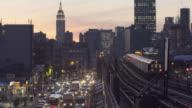 Queens bound 7 train at sunset. video