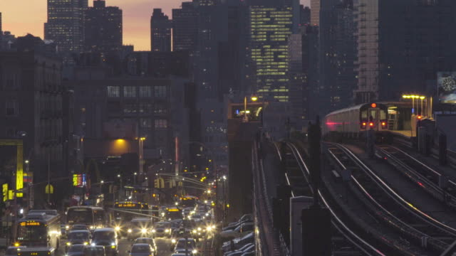 Queens bound 7 train at sunset. video