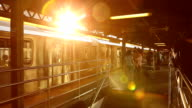 Queensboro Plaza Subway Sunset in New York City video