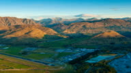 Queenstown downtown aerial view New Zealand at Dusk video
