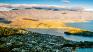 Queenstown downtown aerial view New Zealand video