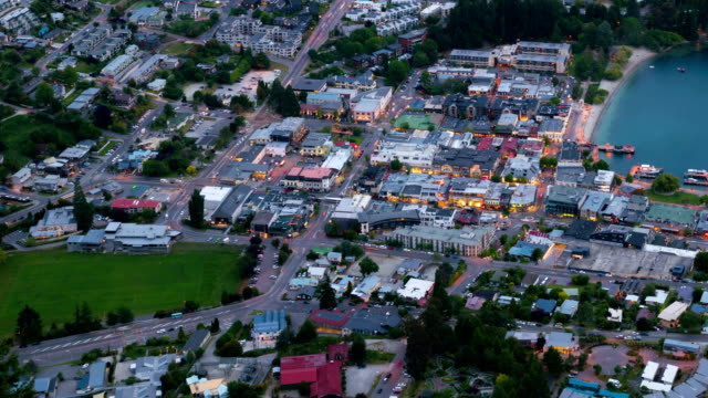 Queenstown Street Time Lapse from Aerial View video