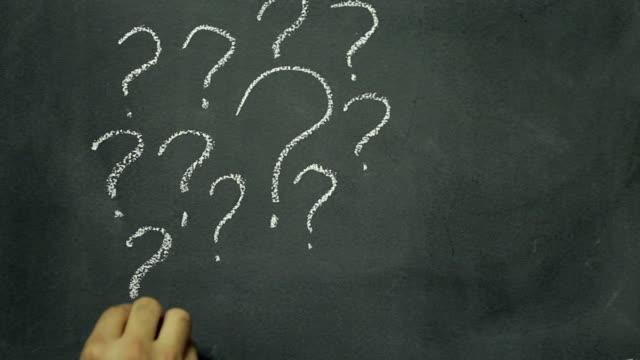 Question mark chalkboard writing video