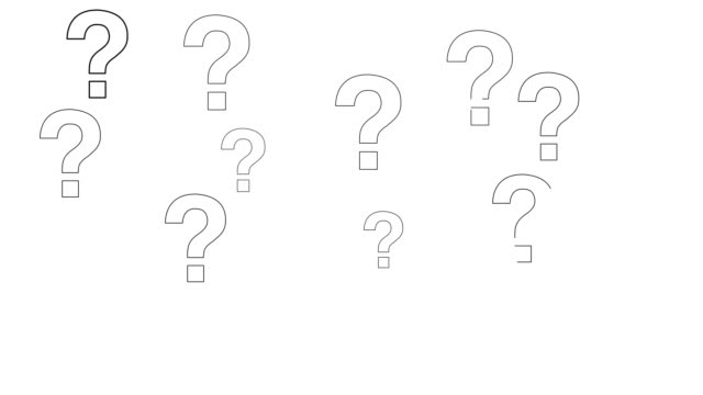 question marks animation on white background video