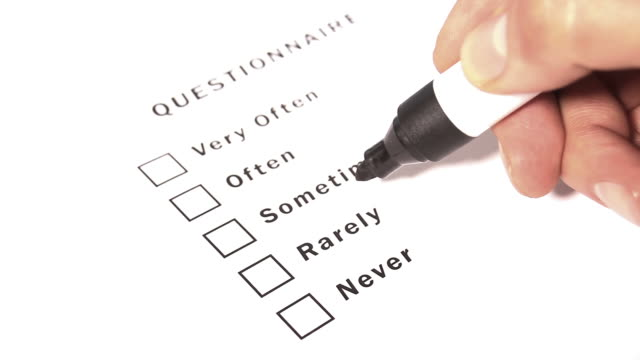 Questionnaire Form Ticking Never video