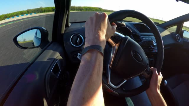 Race car drivers point of view while racing, shifting gear video