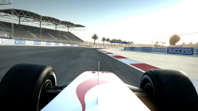 Race car on desert circuit - driver's POV video