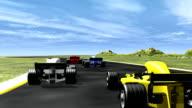 3D race cars - rear view HD 1080i video