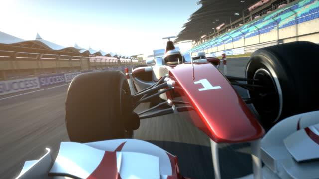 racecar speeding past camera - tilted video