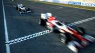 Racecars crossing finishing line - static cam video