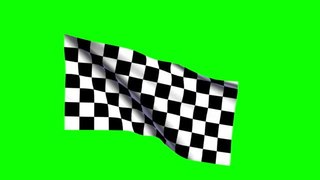 Racing car checkered flag waving, green screen video